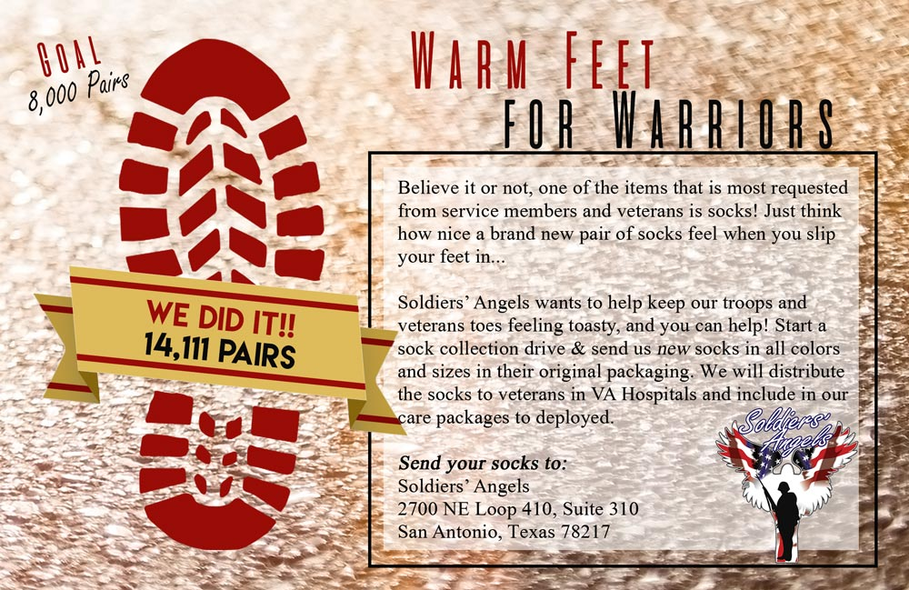 We exceeded our 2018 Warm Feet for Warriors Goal!