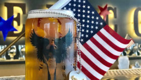 Beer glass with flag and dogtag