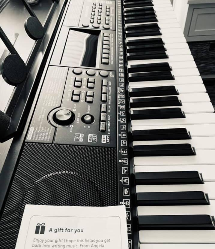 Keyboard gifted to a female caregiver